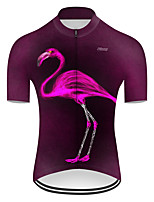 cheap -21Grams Men's Short Sleeve Cycling Jersey Nylon Polyester Violet Flamingo Gradient Animal Bike Jersey Top Mountain Bike MTB Road Bike Cycling Breathable Quick Dry Ultraviolet Resistant Sports