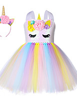 cheap -Princess Unicorn Outfits Flower Girl Dress Girls' Movie Cosplay A-Line Slip Yellow Dress Headband Children's Day Masquerade Polyester