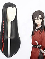 cheap -Cosplay Wig Hua Cheng Heaven Official and Blessing Straight Cosplay Halloween Asymmetrical Braid Wig Long Black Synthetic Hair 31 inch Men's Anime Cosplay Best Quality Black