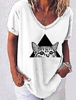 cheap -Women's T-shirt Animal V Neck Tops Summer White Black Blue