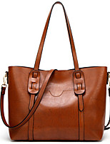 cheap -Women's PU Leather Tote Leather Bags Solid Color Wine / Black / Dark Red