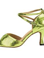 cheap -Women's Latin Shoes PU Heel Cuban Heel Dance Shoes Green