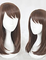 cheap -Cosplay Wig Heroine Game Love and producer Straight Cosplay Halloween With Bangs Wig Medium Length Brown Synthetic Hair 18 inch Women's Anime Cosplay Soft Brown