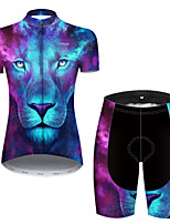 cheap -21Grams Women's Short Sleeve Cycling Jersey with Shorts Nylon Polyester Blue Gradient Animal Lion Bike Clothing Suit Breathable 3D Pad Quick Dry Ultraviolet Resistant Reflective Strips Sports Gradient