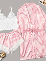 cheap -Women's Lace Bow Mesh Robes Satin & Silk Suits Nightwear Striped Embroidered Blushing Pink S M L