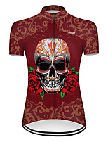 cheap -21Grams Women's Short Sleeve Cycling Jersey Nylon Polyester Red Novelty Skull Floral Botanical Bike Jersey Top Mountain Bike MTB Road Bike Cycling Breathable Quick Dry Ultraviolet Resistant Sports