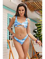 cheap -Women's Print Tankini Cheeky Swimwear Swimsuit Bathing Suits - Geometric Light Blue S M L