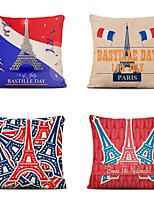 cheap -Set of 4 Home Cushion Cove Bastille Day Pillow Sofa Covers 45cmx45cm Bed Printed Pillow Case