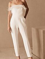 cheap -Jumpsuits Elegant Minimalist Engagement Prom Dress Strapless Sleeveless Floor Length Spandex with Sleek 2020