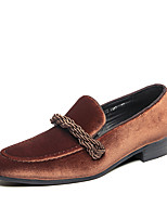 cheap -Men's Spring / Fall Vintage / British Daily Party & Evening Loafers & Slip-Ons Walking Shoes Velvet Non-slipping Wear Proof Dark Brown / Black / Green