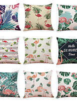 cheap -9 pcs Linen Pillow Cover Tropical Leaves Flamingo Linen Pillow Case Car Pillow Cushion Sofa Pillow Pillow Office Nap Pillow