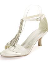 cheap -Women's Wedding Shoes Spring / Summer Kitten Heel Open Toe Minimalism Wedding Party & Evening Rhinestone Solid Colored Satin White / Black / Purple