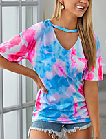 cheap -Women's T-shirt Tie Dye V Neck Tops Summer Blue Purple Yellow