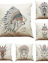 cheap -6 pcs Linen Pillow Cover Indian  Style Animal Head Linen Pillow Case Bedroom Car Pillow Cushion Sofa Pillow Pillow Office Nap Pillow