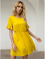 cheap -Women's A-Line Dress Short Mini Dress - Short Sleeves Solid Color Summer Casual 2020 Yellow XS S M L
