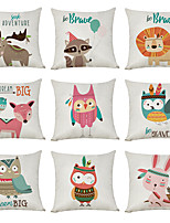 cheap -9 pcs Linen Pillow Cover, Cartoon Animals Casual Modern Square Traditional Classic