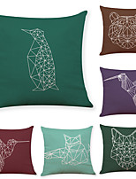 cheap -6 pcs Linen Pillow Cover, Animal Bird Simple Casual Square Traditional Classic