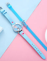 cheap -Kids Quartz Watches Casual New Arrival Black White Blue PU Leather Quartz White Black Blushing Pink Chronograph Cute Creative 1 set Analog