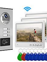Недорогие -мульти-квартира подключить три внутренних монитора 9-дюймовый большой экран видео домофон с 2-сторонняя система внутренней связи приложение мобильного телефона приложение дистанционного управления
