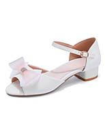 cheap -Girls' Flower Girl Shoes PU Sandals Block Heel Sandals Big Kids(7years +) Bowknot / Buckle White / Pink / Blue Summer / Peep Toe / Party & Evening