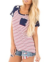 cheap -Women's T-shirt National Flag Tops Round Neck Daily Summer Red S M L XL