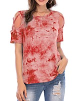cheap -Women's T-shirt Tie Dye Round Neck Tops Blue Red Gray