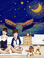 cheap -Custom Self-adhesive Mural Wallpaper Lake Night Children Cartoon Style Suitable For Bedroom Children's Room School Party Home Decoration Modern Wall Covering