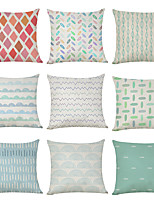 cheap -9 pcs Linen Pillow Cover, Fresh Summer Geometric Geometic Casual Modern Square Traditional Classic