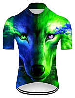 cheap -21Grams Men's Short Sleeve Cycling Jersey Nylon Polyester Blue+Green Gradient Animal Wolf Bike Jersey Top Mountain Bike MTB Road Bike Cycling Breathable Quick Dry Ultraviolet Resistant Sports