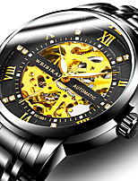 cheap -WEISIKAI Men's Mechanical Watch Automatic self-winding Tourbillion Stainless Steel Water Resistant / Waterproof Calendar / date / day Noctilucent Analog Fashion Big Face - Black / Silver Black+Gloden