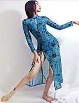 cheap -Latin Dance Dress Split Pattern / Print Split Joint Women's Training Performance Long Sleeve Mesh