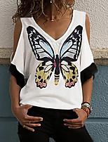 cheap -Women's T-shirt Graphic Tops V Neck Loose Daily White Blue Purple S M L XL 2XL 3XL