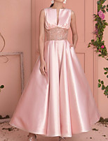cheap -A-Line Elegant Minimalist Wedding Guest Prom Dress Jewel Neck Sleeveless Ankle Length Satin with Sash / Ribbon Pleats 2020