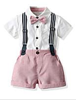 cheap -Kids Toddler Boys' Basic Color Block Short Sleeve Clothing Set Blushing Pink