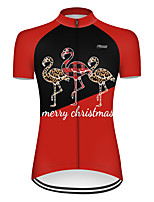 cheap -21Grams Women's Short Sleeve Cycling Jersey Nylon Polyester Black / Red Patchwork Flamingo Animal Bike Jersey Top Mountain Bike MTB Road Bike Cycling Breathable Quick Dry Ultraviolet Resistant Sports