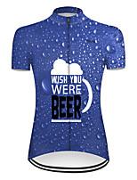 cheap -21Grams Women's Short Sleeve Cycling Jersey Blue Oktoberfest Beer Bike Top Mountain Bike MTB Road Bike Cycling Breathable Sports Clothing Apparel / Micro-elastic