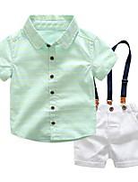 cheap -Kids Boys' Basic Striped Short Sleeve Clothing Set Green