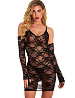 cheap -Women's Lace Mesh Suits Nightwear Solid Colored Black S M L