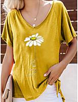 Недорогие -Жен. Футболка Цветочный принт Верхушки V-образный вырез Повседневные Лето Красный Желтый Зеленый M L XL 2XL 3XL 4XL 5XL