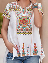 cheap -Women's T-shirt Graphic Tops V Neck Daily Summer White Blue Yellow S M L XL 2XL 3XL 4XL 5XL