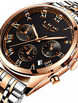 cheap -LIGE Men's Sport Watch Quartz Modern Style Stylish Stainless Steel Leather Water Resistant / Waterproof Analog Classic Casual - Golden / Brown Black / Silver Black+Gloden