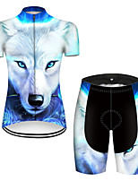 cheap -21Grams Women's Short Sleeve Cycling Jersey with Shorts Nylon Polyester Blue / White Gradient Animal Wolf Bike Clothing Suit Breathable 3D Pad Quick Dry Ultraviolet Resistant Reflective Strips Sports