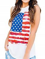 cheap -Women's Tank Top National Flag Tops Round Neck Daily White S M L XL 2XL