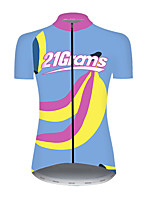 cheap -21Grams Women's Short Sleeve Cycling Jersey Nylon Polyester Blue+Yellow Fruit Banana Bike Jersey Top Mountain Bike MTB Road Bike Cycling Breathable Quick Dry Ultraviolet Resistant Sports Clothing