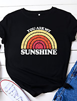 cheap -Women's T-shirt Rainbow Letter Print Round Neck Tops Loose 100% Cotton Basic Summer Wine Black Royal Blue