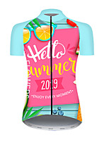 cheap -21Grams Women's Short Sleeve Cycling Jersey Nylon Polyester Pink+Green Fruit Lemon Bike Jersey Top Mountain Bike MTB Road Bike Cycling Breathable Quick Dry Ultraviolet Resistant Sports Clothing