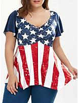 cheap -Women's T-shirt Plus Size National Flag Tops V Neck Daily Summer Red L XL 2XL 3XL 4XL 5XL