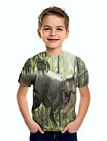 cheap -Kids Boys' Basic Dinosaur Animal Print Short Sleeve Tee Green