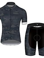 Недорогие -21Grams Муж. С короткими рукавами Велокофты и велошорты Нейлон Полиэстер Камуфляжный Пэчворк камуфляж Велоспорт Наборы одежды Дышащий 3D / Эластичная / Горные велосипеды / Шоссейные велосипеды