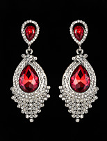 cheap -Women's AAA Cubic Zirconia Earrings Round Cut Floral Theme Stylish Luxury European Platinum Plated Gold Plated Earrings Jewelry Black / Silver / White / Light Red For Christmas Wedding Party Festival